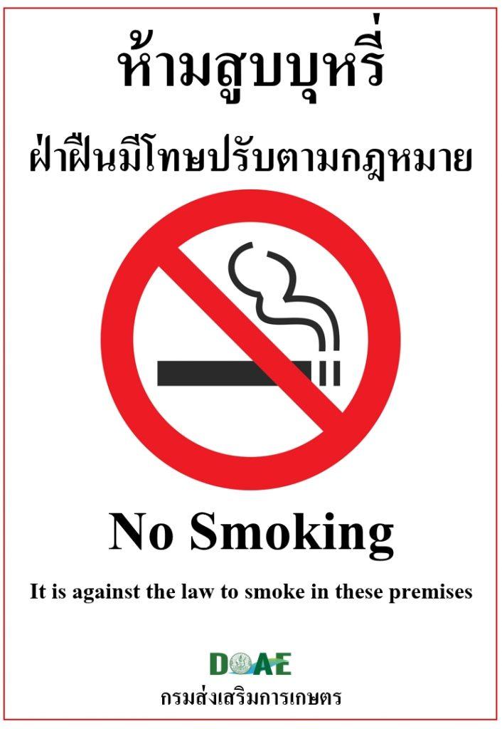 2. เครื่องหมายเขตปลอดบุหรี่สำหรับติดแสดงในสถานที่สาธารณะ